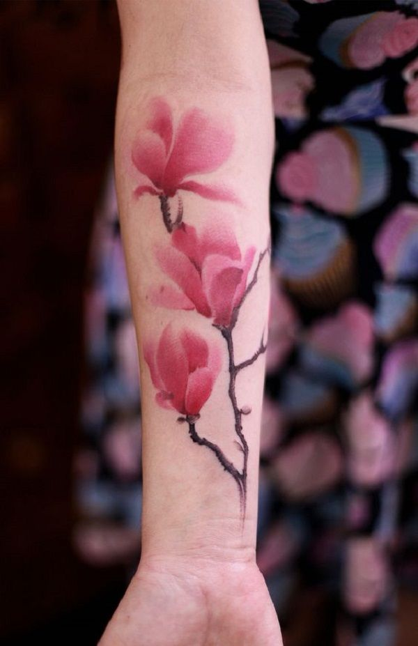 Flower Tattoos 3 Pink Magnolia Flower Branch A Number Of Magnolia