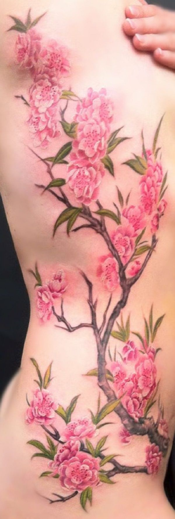 A really softly inked cherry blossom tattoo. You can almost feel the softness of...