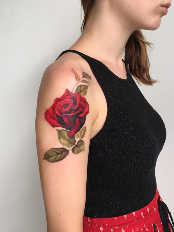 Amazing red rose tattoo - 120+ Meaningful Rose Tattoo Designs