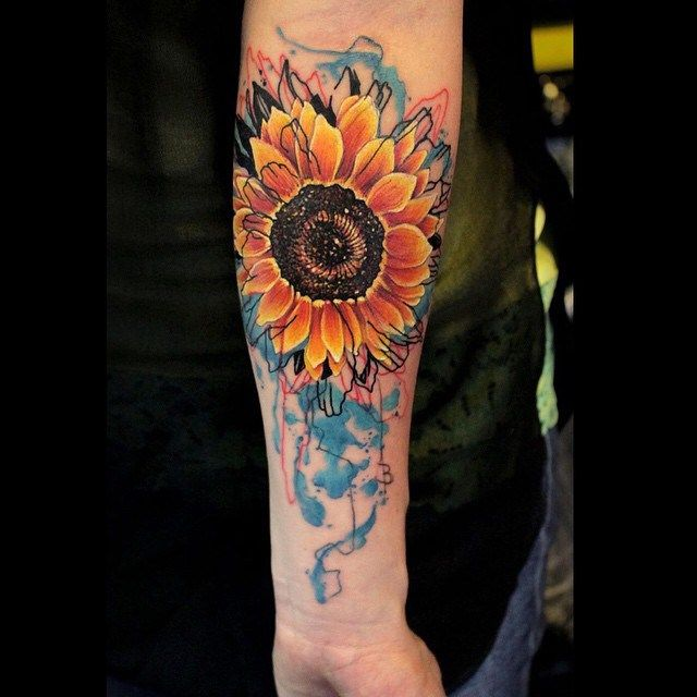Arm Watercolor tattoo Sunflower
