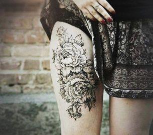 Hip Print Flowers tattoo