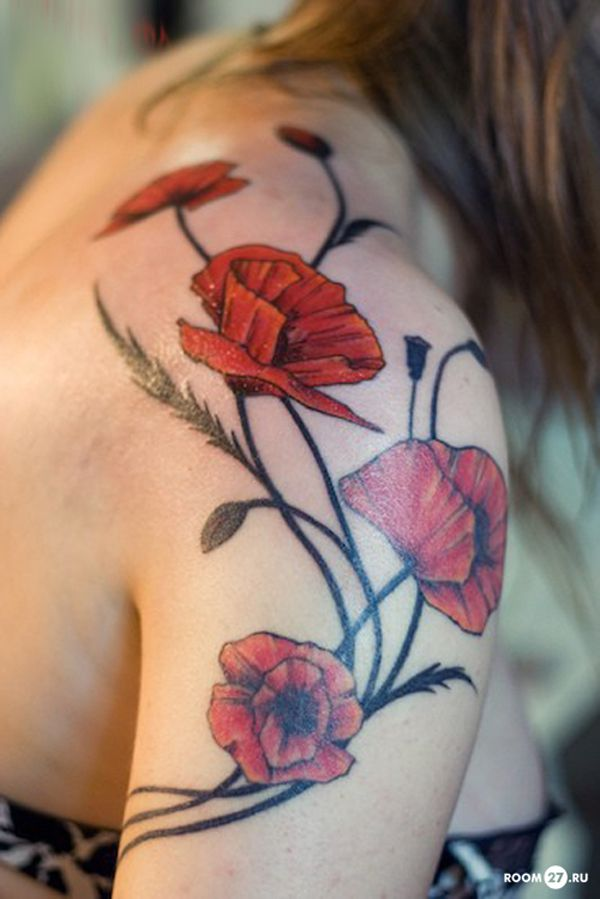 Poppy Shoulder Tattoo  - 55 Awesome Shoulder Tattoos