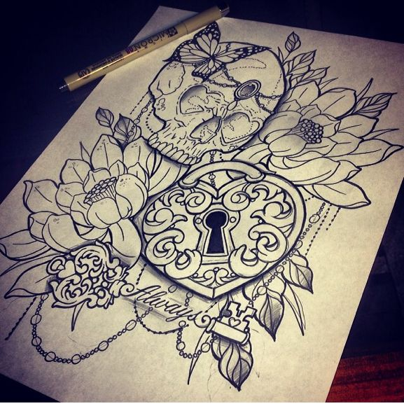 Flower Tattoos Skull Locket Key Flower Butterfly Tattoo