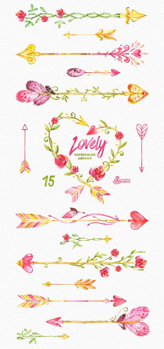 This set of 15 high quality hand painted watercolor clipart (arrows, wreath). Pe...