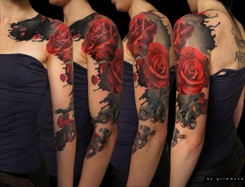 This sleeve tattoo looks so damn realistic.