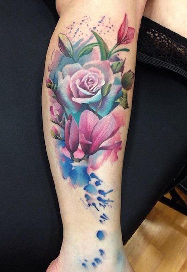 Flower Tattoos Watercolor Magnolia And Rose Tattoo 50 Magnolia