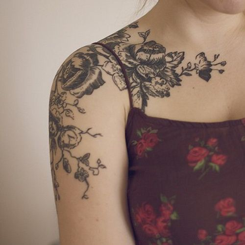 girls flower sleeve tattoos Floral Sleeve Tattoos. ON MY LEFT SHOULDER above whe...