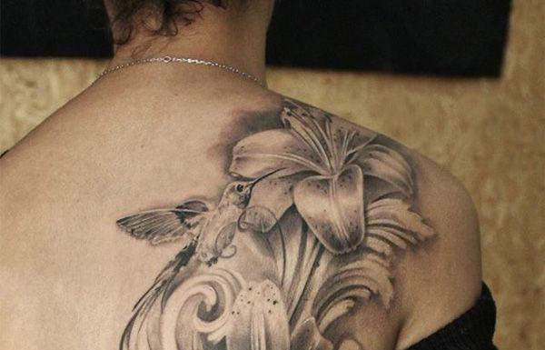 09fba8de35093 Flower Tattoos : lily and skull tattoo for girl – 55 Lovely Tattoos for  Girls