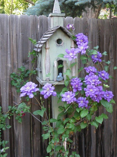 Church birdhouse with clematis