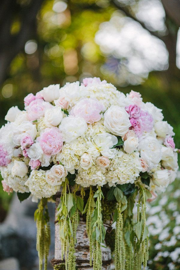 Pink White and Green Centerpiece | Amy and Stuart Photography