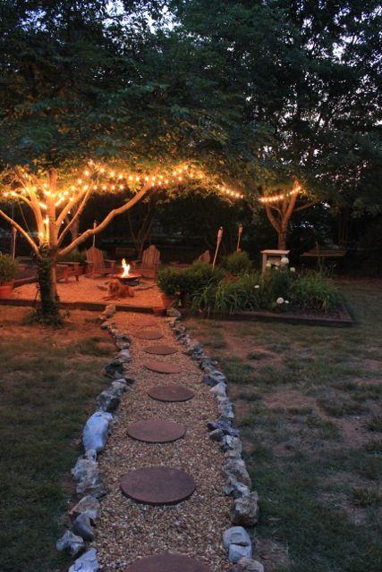 backyard/firepit... love the lights
