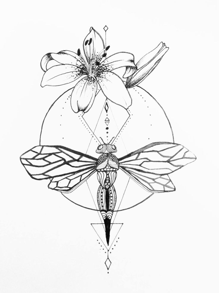 Dragonfly And Hybiscus Tattoo by grisouICSH.devian... on @DeviantArt