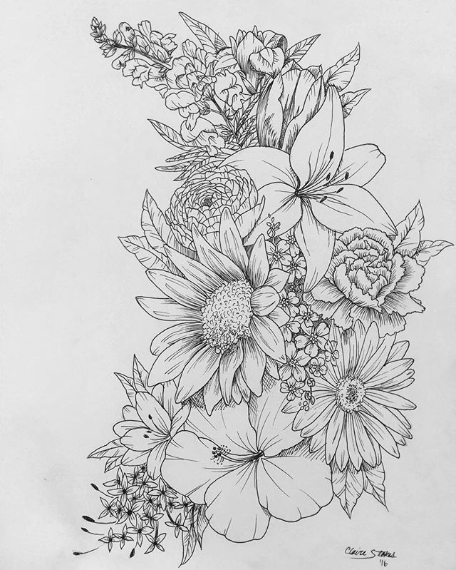 Flowers Drawings : Floral Tattoo. Contact Me For Custom