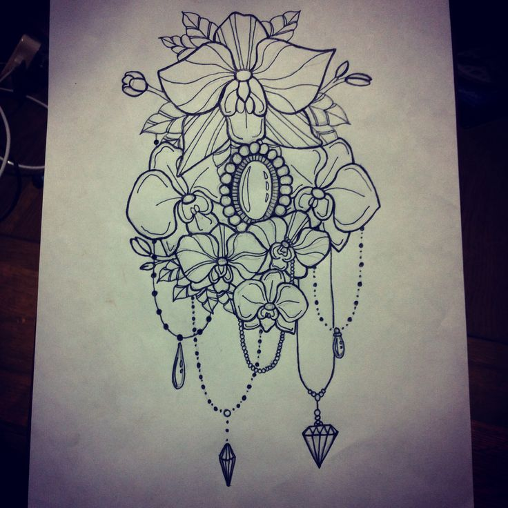 Flowers Drawings  Flowers orchids tattoo design , Flowers