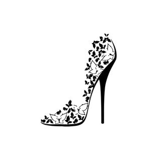 Butterfly High Heel Shoe Mural Vinyl Wall Art - Overstock™ Shopping - The Best...