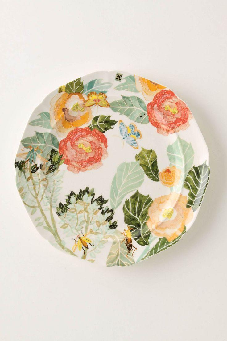 Watercolor Petals Dinner Plate - Anthropologie.com
