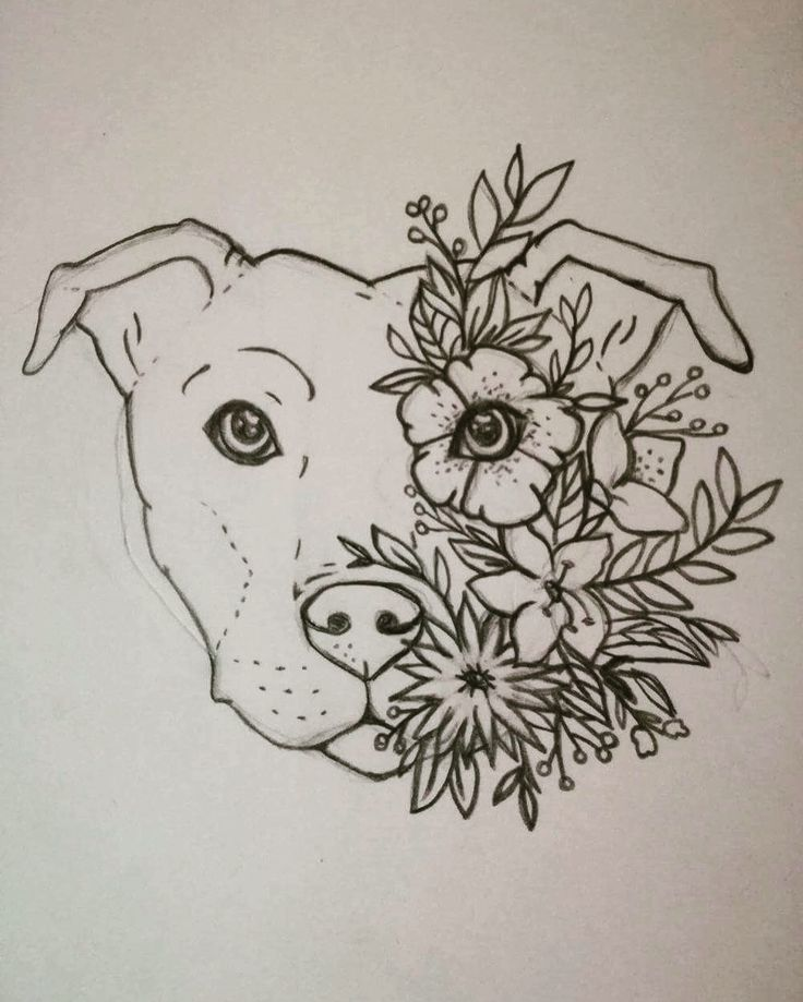 Turn this into a lotus tattoo!! Staffy tattoo Staffordshire bull terrier Floral ...