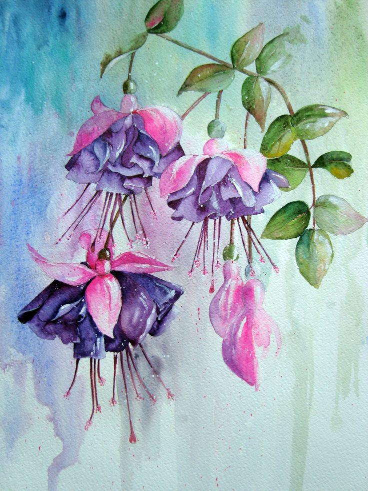 Watercolour Florals: Fuchsia Again