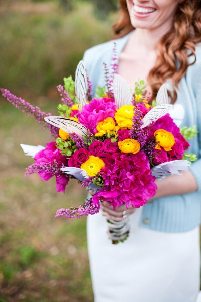 fuchsia and yellow bouquet