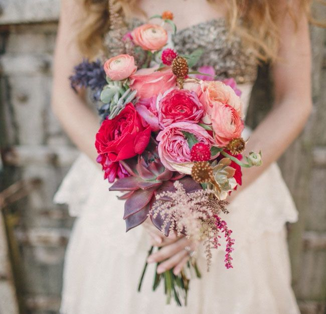A bright & woodsy wedding bouquet... With the Burnished Organza Gown from BHLDN
