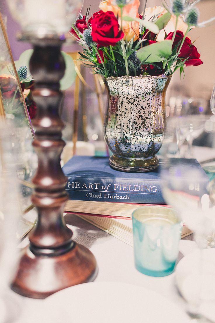 Book and vase centerpiece idea