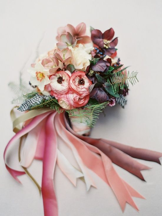 Ombre ribbons for a short-stemmed wedding bouquet.