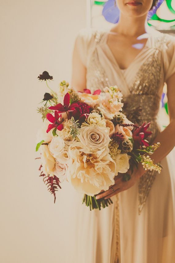 Seriously huge wedding bouquet