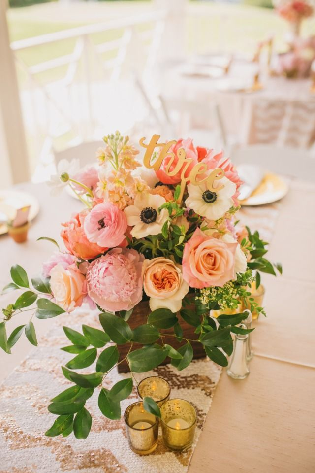 Spring centerpiece with table number