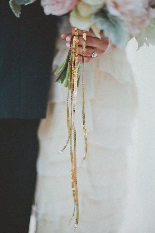 Wedding bouquet tied with a sequined ribbon