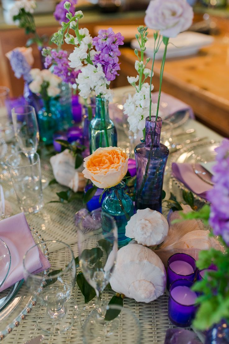 lavender and teal chic beach wedding decor