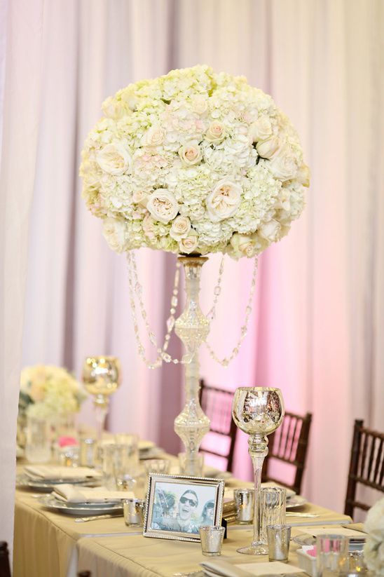rose and hydrangea pedistal centerpiece