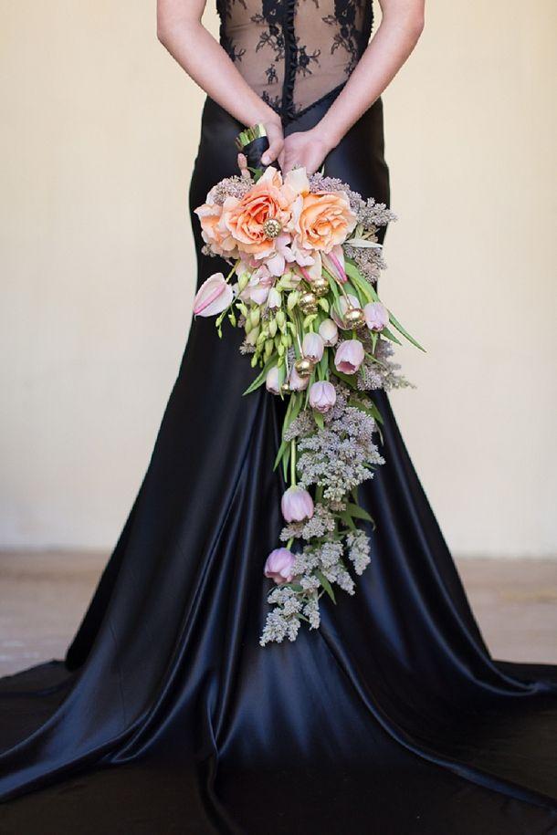 stunning rose, tulip & lilac cascade bouquet
