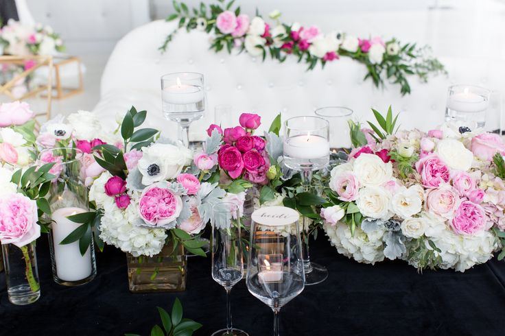 white pink and black table decor