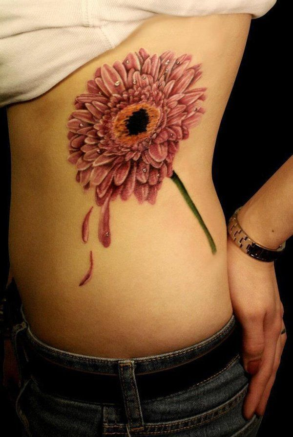 23 chrysanthemum side tattoo