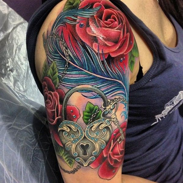 Flower Tattoos Dimensional Heart Lock Rose Feather Half Sleeve