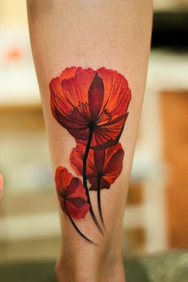 Poppy flower tattoo - Poppies have long been used as a symbol of sleep, peace, a...
