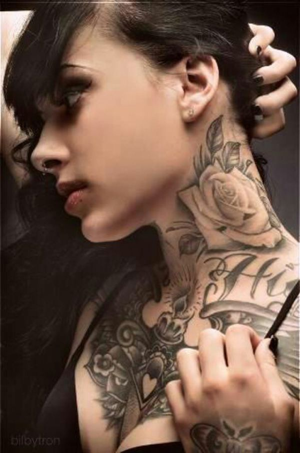 Rose on  the neck, 50 Awesome Neck Tattoos | Cuded