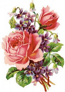 Roses and Violets. I really like this but just one big rose with a  few violets ...