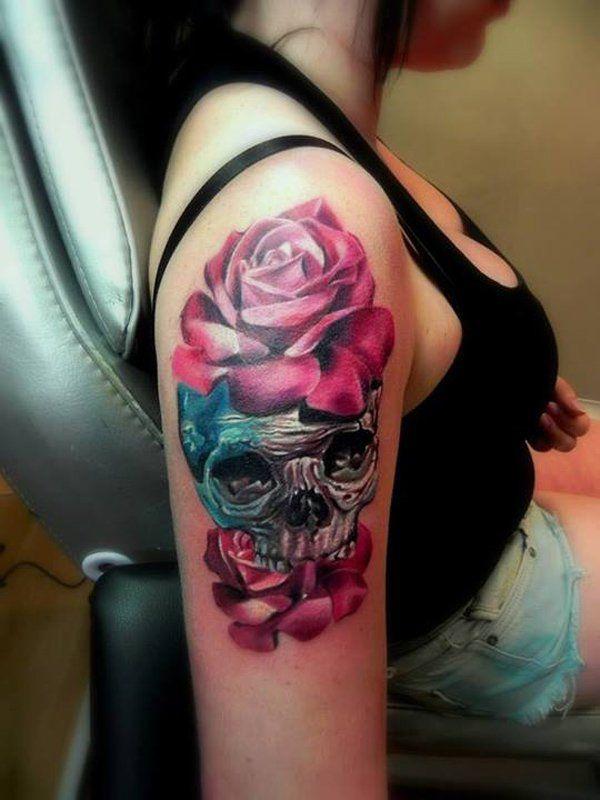 Skull Flower Tattoo Sleeve Flowers Healthy
