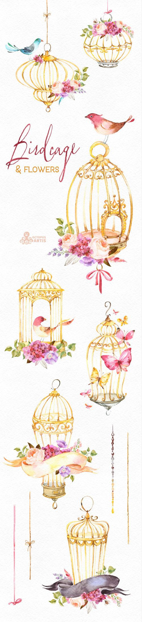This set of romantic watercolor Birdcages with flowers and birds. Perfect graphi...