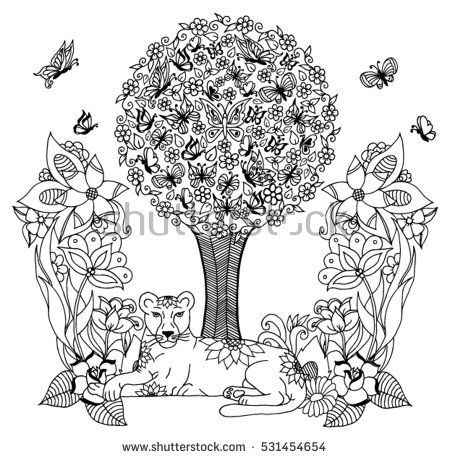 Vector illustration zentagl, lioness under a tree of butterflies among the flowe...