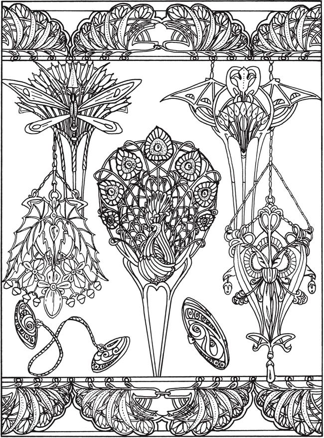- Flowers Drawings Inspiration : Printable Coloring Page By Dover Publications  Art Nouveau Jewelry Designs - Flowers.tn - Leading Flowers Magazine, Daily  Beautiful Flowers For All Occasions