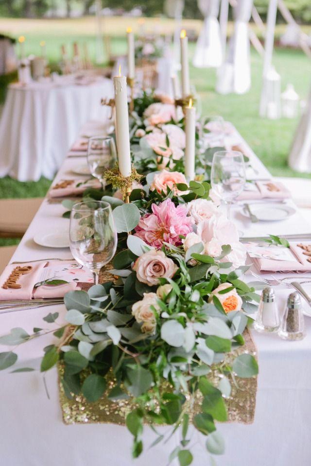 Weddings flower arrangements overflowing garland