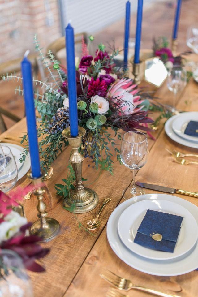 Weddings Flower Arrangements Blue And Gold And Burgundy Wedding