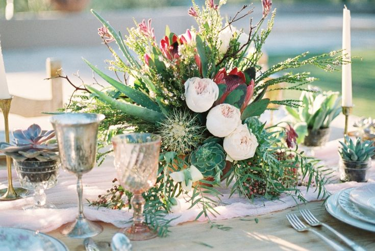 cacti, succulent, protea and rose centerpiece