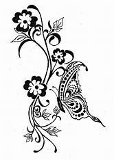 Image result for Line Drawings of Flowers and Butterflies