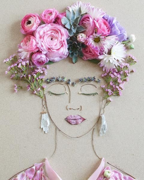 Print of original flower face by Vicki Rawlins Read Vicki's Flower Art State...