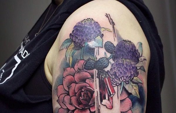 38ff90043 Flower Tattoos : Chrysanthemum Tattoo on Sleeve – 45 Beautiful  Chrysanthemum Tattoo Ideas
