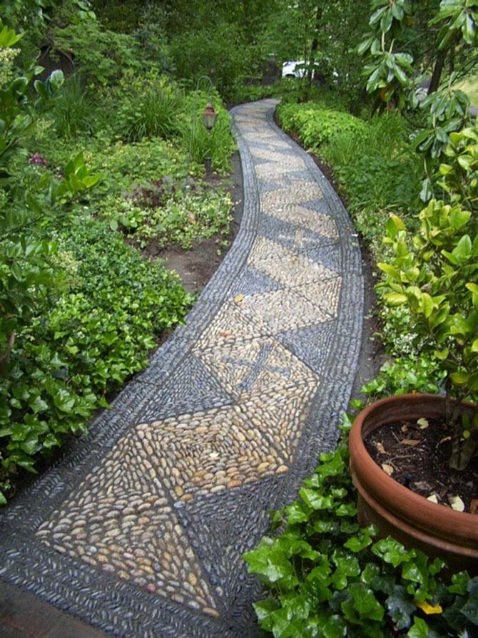 Curving river stones/ pebble mosaic path