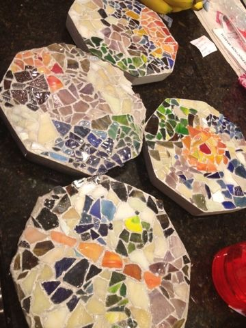 Homemade stepping stones: using plastic trays as a base, and cement. Can use nat...